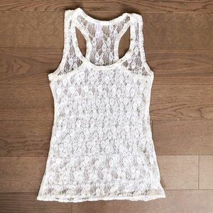 Xhilaration by Target Cream Lace Racerback Top